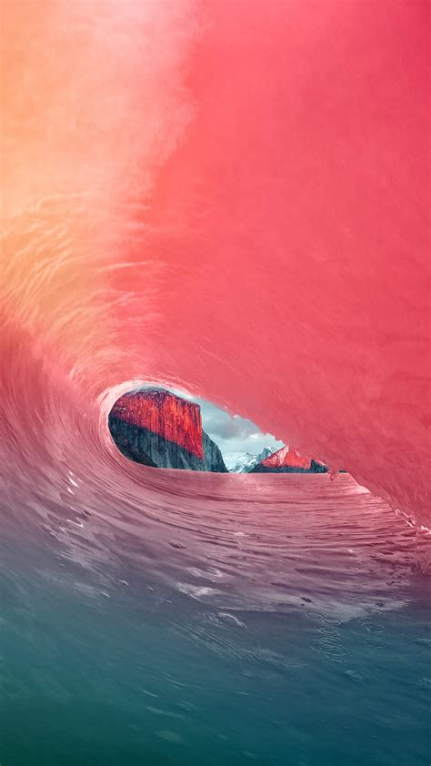 wallpaper iphone 6 wave mw05 apple osx yosemite wave red rainbow sea blue