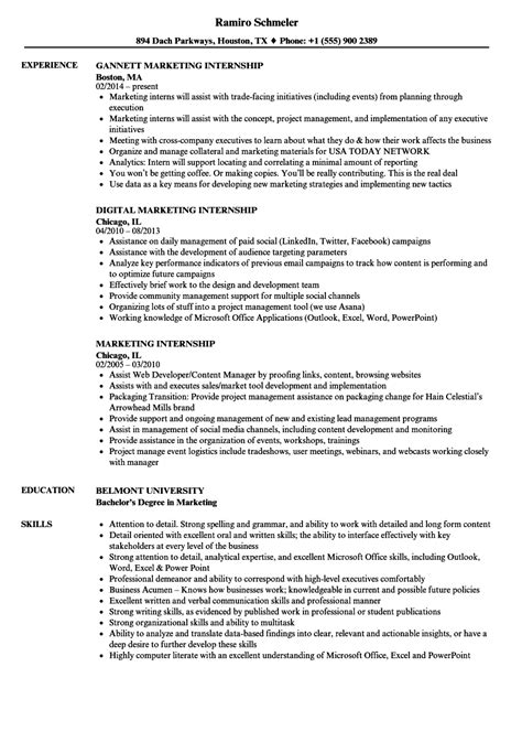 exle resume for internship marketing internship resume sles velvet