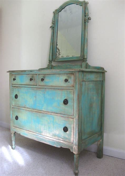 Turquoise Distressed Dresser by Painted Antique Country Cottage Chic Shabby