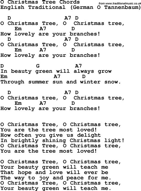 song lyrics with guitar chords for o christmas tree 2