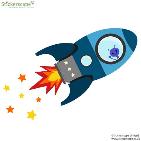 space rocket wall stickers blue flying rocket wall sticker space wall stickers