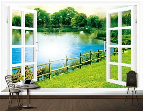 Wall Stiker Vintage L Xl8198 Stiker Dinding Wall Sticker blank window large 3d wall paper for sofa tv background