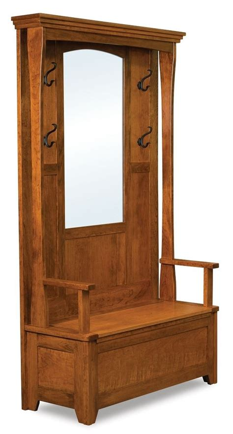 hall trees with storage bench mirror amish rustic wood hall tree storage bench mirror hallway