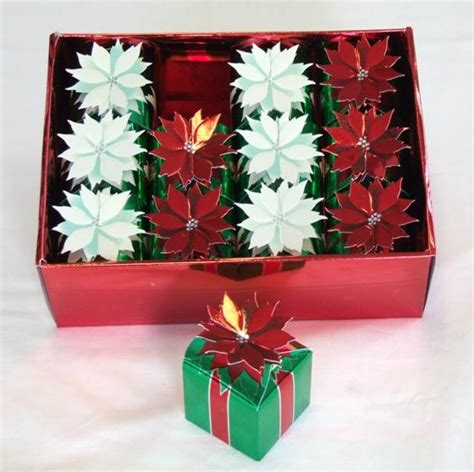 12 metallic poinsettia christmas favour boxes favour fairy