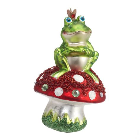 frog on mushroom christmas ornament gump s