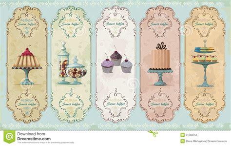 establecer etiquetas vintage con los corazones vector de etiquetas del vintage con los dulces imagen de archivo