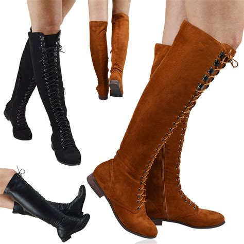 womens flat biker boots womens lace up combat the knee high flat