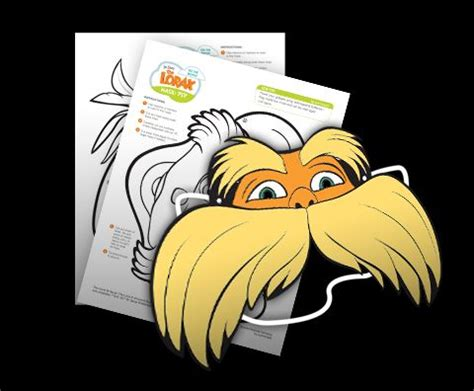 printable lorax mask pin by lisa flook on contractions pinterest