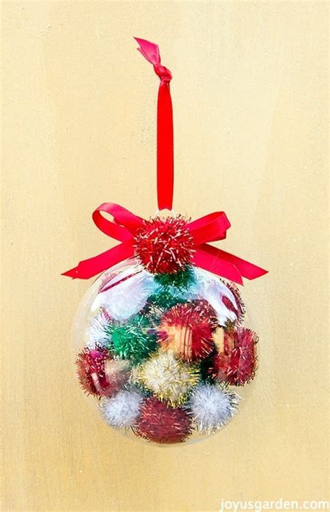 an easy to make colorful pom pom christmas ornament