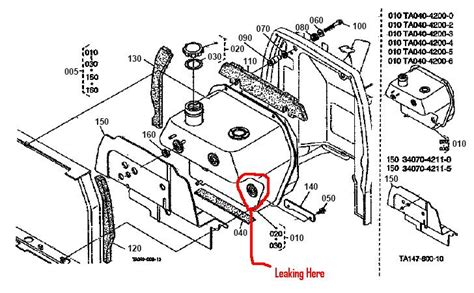 kubota tractor parts diagram fuel tank leaking on kubota l4200