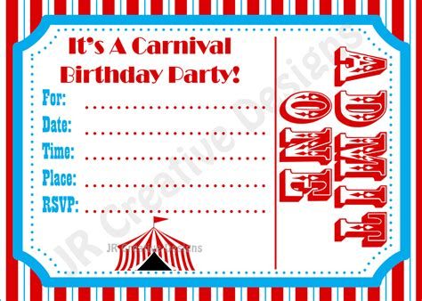 printable birthday invitations carnival theme carnival invite circus invite circus by jrcreativedesigns