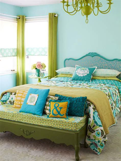 blue and green bedroom simple chic small bedroom decorating using black iron bed frames teamed with wooden white side
