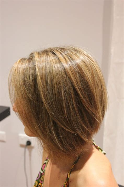 foil short bob brown hair bob with blonde foil concave bob with a mix