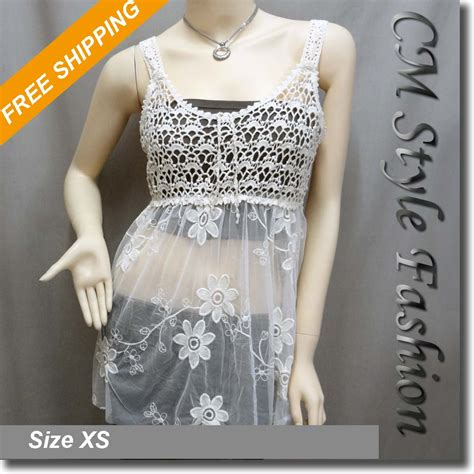Crochet Lace Camisole Top crochet knit lace eyelet camisole layering top beige