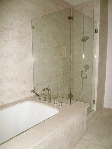 Tile Bathtub Shower Combo by Shower Bathtub Shower Combo Crema Marfil Tile Bathroom