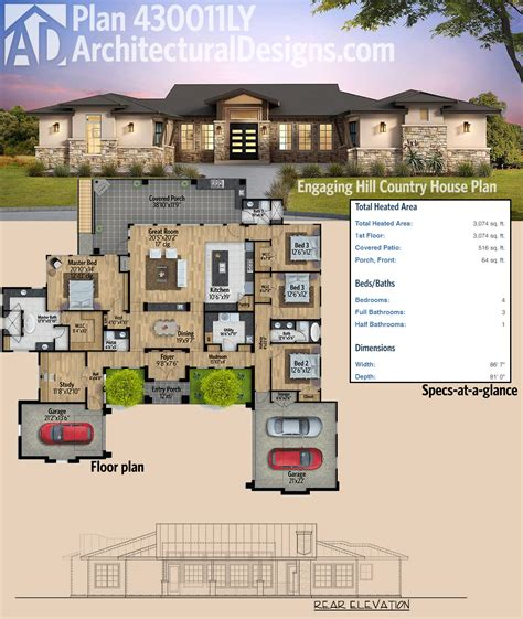 house behind a house designs plan 430011ly engaging hill country house plan bedroom layouts and square feet