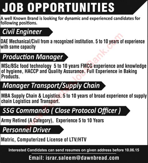Opportunities For Mba In Logistics by Bread Career Opportunities 2015 June Civil Engineer