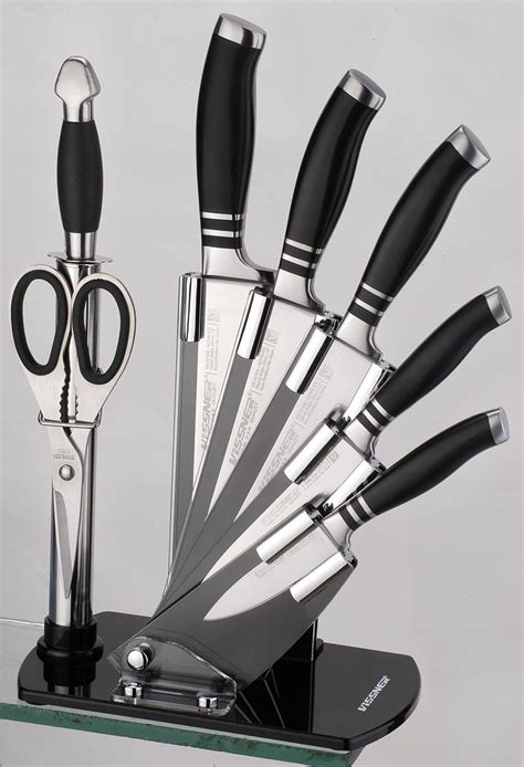 kitchen knife collection 8pcs kitchen knife set with acrylic block in kitchen