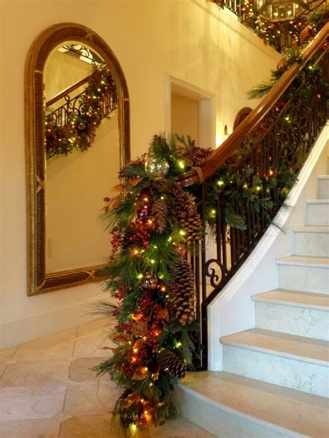 decor stair banister garland traditional