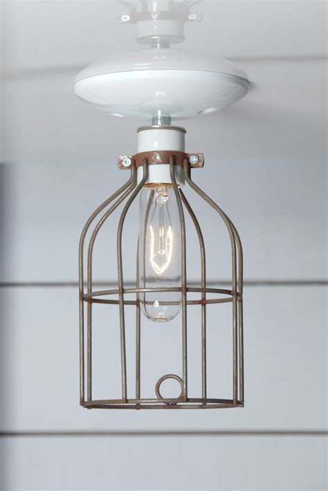 Industrial Cage Ceiling Light by Industrial Lighting Vintage Metal Cage Light Ceiling