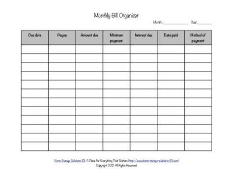 printable bill organizer   search results   calendar 2015
