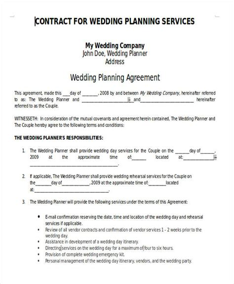 wedding planner terms and conditions template 28 images