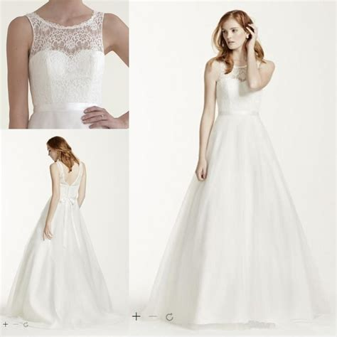 Tank Style Wedding Dresses by Discount Cheap Wedding Dresses Illusion Lace Tank A Line