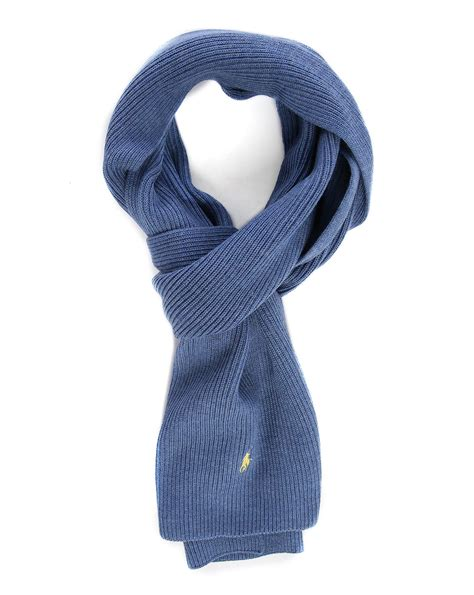 polo ralph navy ribbed merino wool scarf in blue