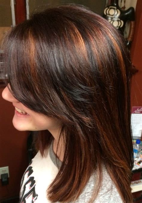 pictures of hair medium hair styles dark underneath chocolate cherry hair with carmel copper highlights
