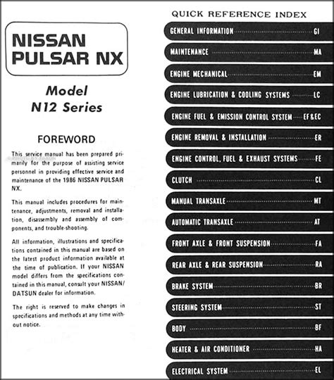 service and repair manuals 1993 nissan nx electronic toll collection 1986 nissan pulsar nx shop manual 86 original dealer