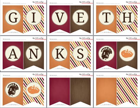 Printable Free Thanksgiving Banner | free thanksgiving printables from three little monkeys