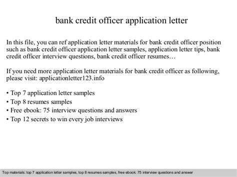 Credit Officer Application Letter Bank Credit Officer Application Letter