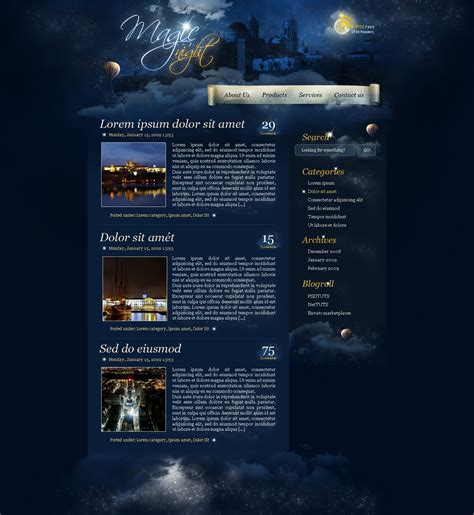 tutorial photoshop template web design create a magic night themed web design from scratch in
