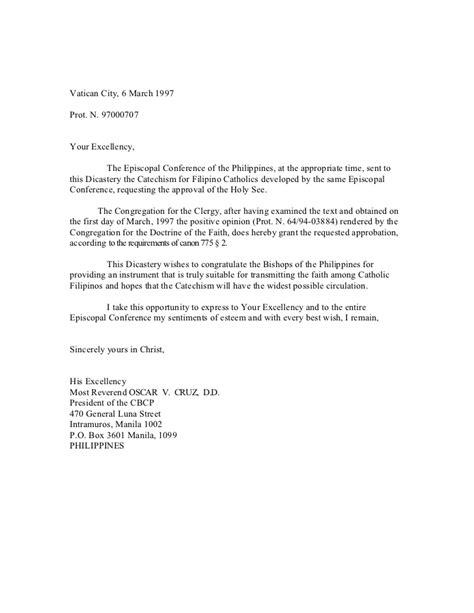 Formal Letter Your Excellency Catechism For Catholics Cfc