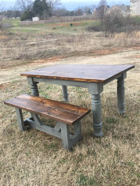 farmhouse table rustic turned leg by boardmancowoodworks