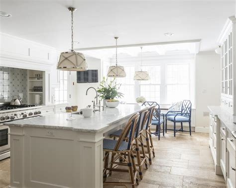 White Kitchen Island With Bar Stools by White Kitchen Island With Blue Bistro Rattan Bar Stools