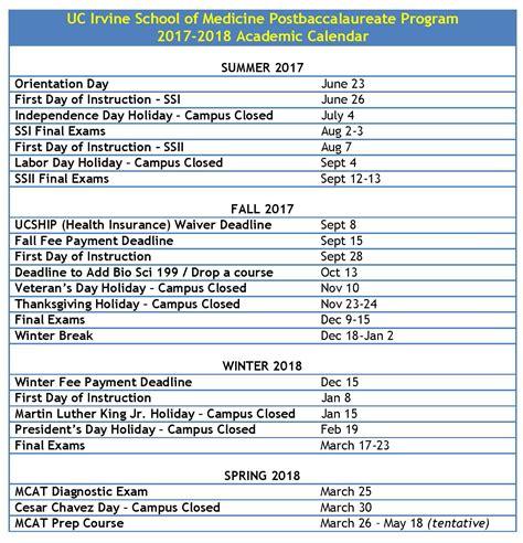 Uci Academic Calendar Postbaccalaureate Program Education School Of