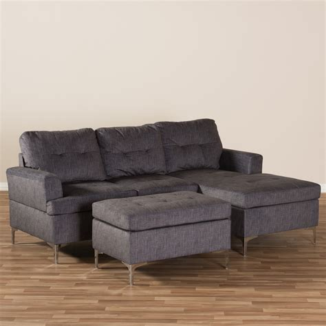 upholstered sectional sofa baxton studio riley modern and contemporary grey fabric