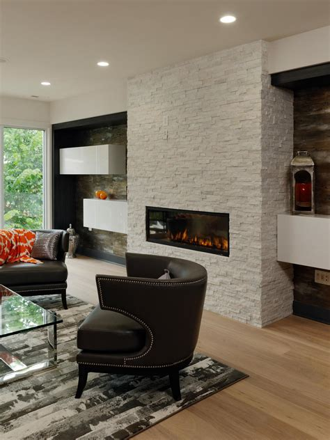 modern living room  white brick fireplace hgtv