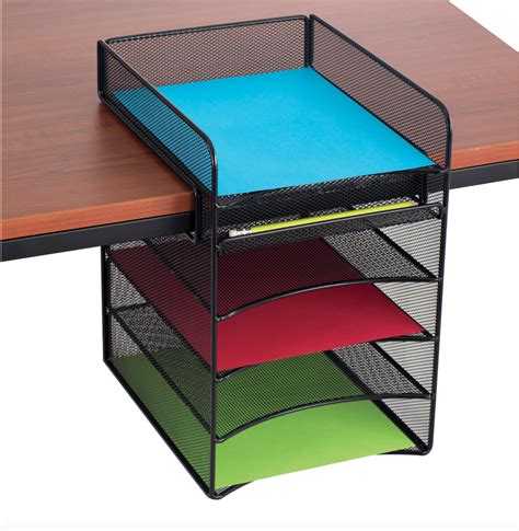 Office Desk Shelf Organizer Safco Products 3264bl Onyx Mesh Desktop Organizer With 2 Vertical 2 Horizontal