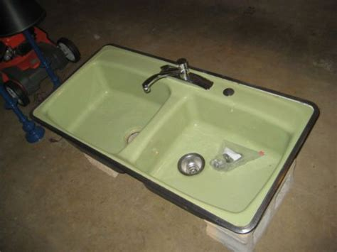 hudee ring sink installation vintage avocado green kohler hudee ring cast iron double