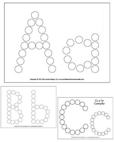Pompom 60pcs Printable Huruf A Z alphabet do a dot worksheets abc coloring pages