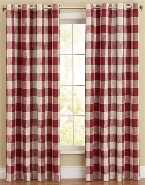 red buffalo check curtains courtyard bison plaid panel red lorraine home fashions