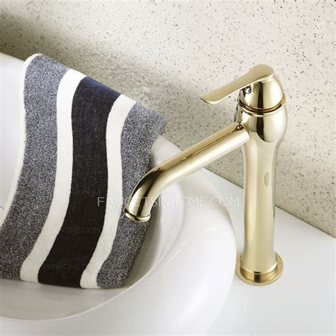 heightening gold polished brass bathroom faucet for vessel