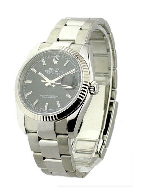 Rolex Date Just Wg For 116234 used black stick rolex datejust 36mm steel with