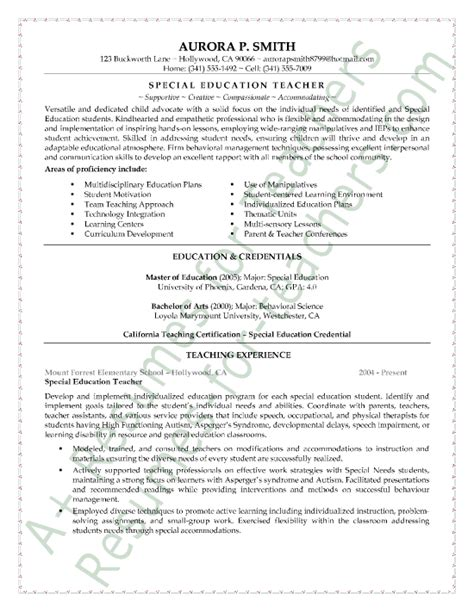 Resume Exles For Education Special Education Resume Sle Page 1