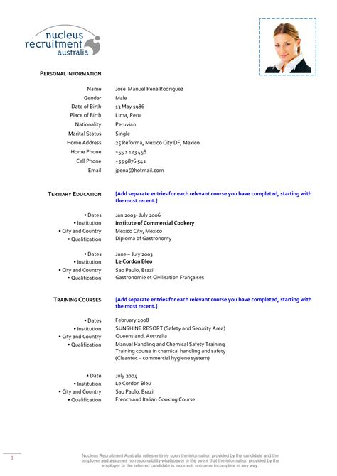resume templates for sous chef 3
