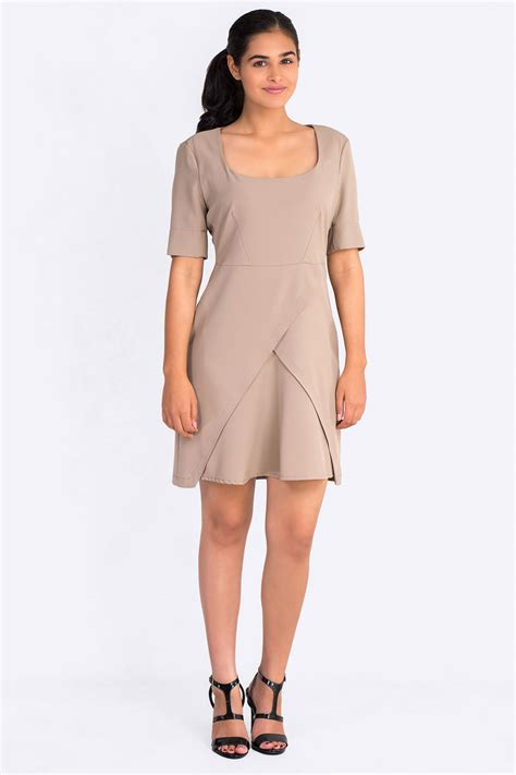 Square Dress square neckline dress with mock wrap skirt in brown claddio