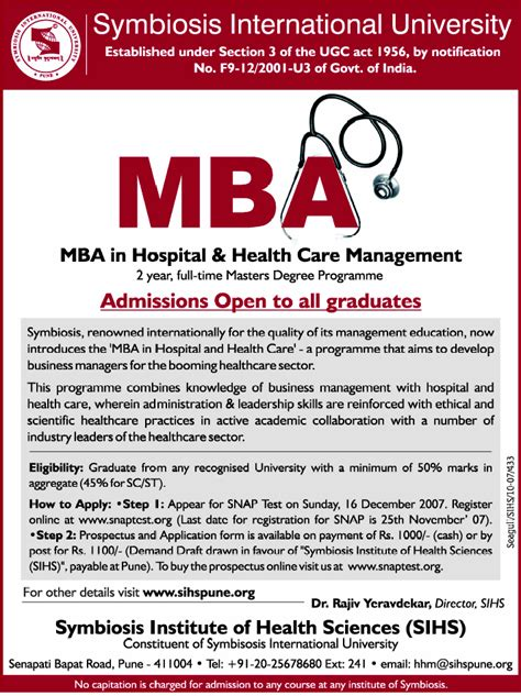 Symbiosis Mba Healthcare Management mba healthcare management careers the best
