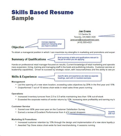 Skills Based Resume by Retail Resume Templets 7 Free Sles Exles